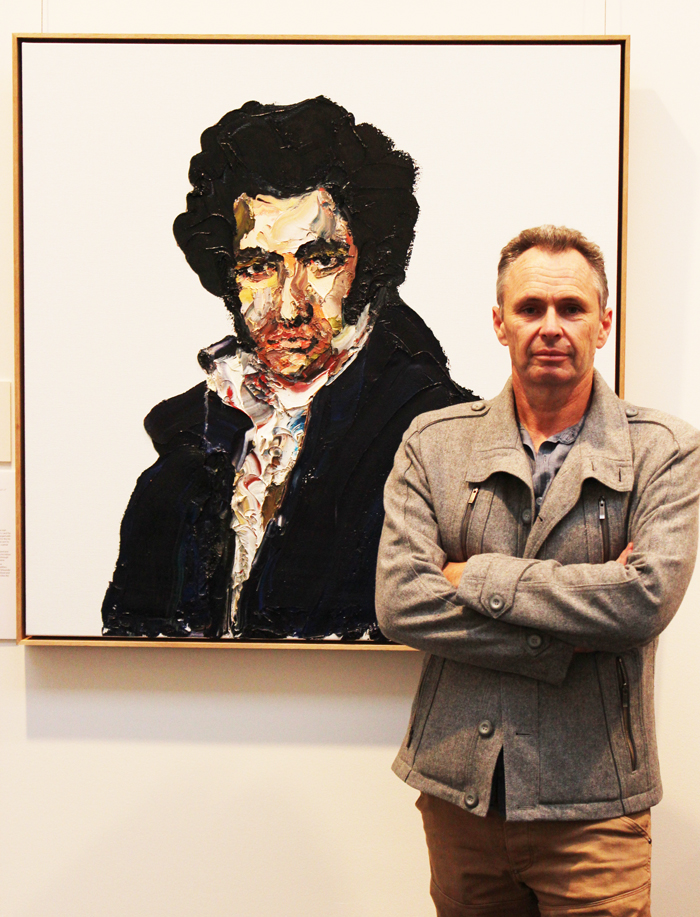 "2013 Bay of Fires Art Prize winner Paul Ryan with "" Fine Young Cannibal - A Portrait of Alexander Pearce"" at Gallery Parnella"